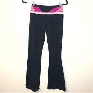 Lululemon yoga legging black pink flare size 2